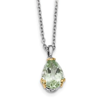 Sterling Silver & 14K Rhodium Plated Green Quartz Necklace