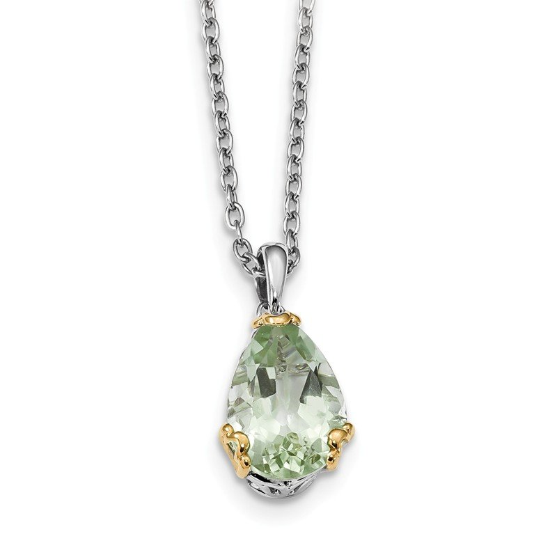 Quality Gold Sterling Silver & 14K Rhodium Plated Green Quartz Necklace