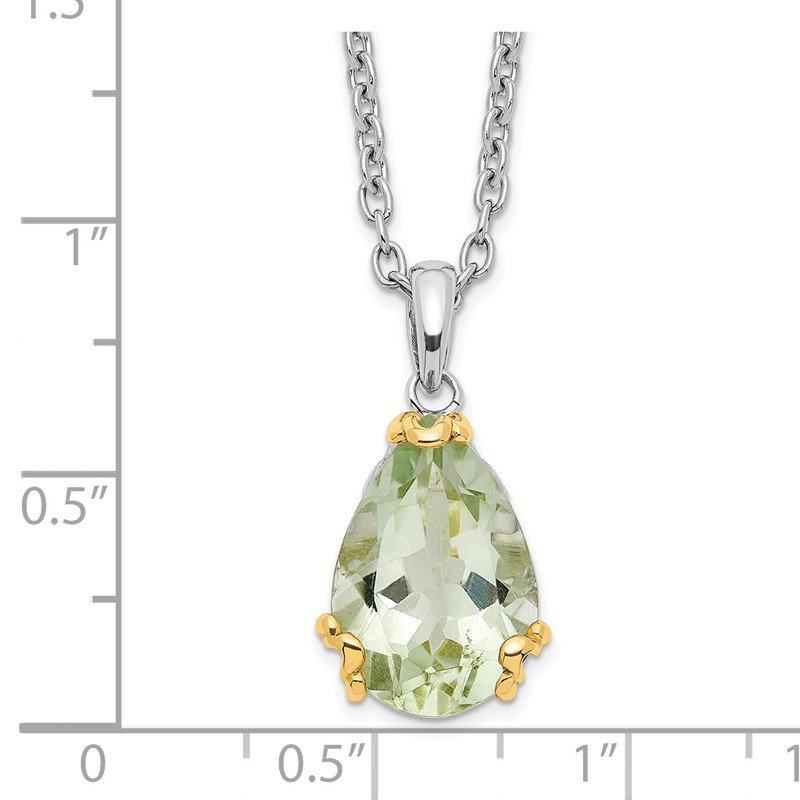 Quality Gold SS & 14k True Two-tone Green Quartz Necklace