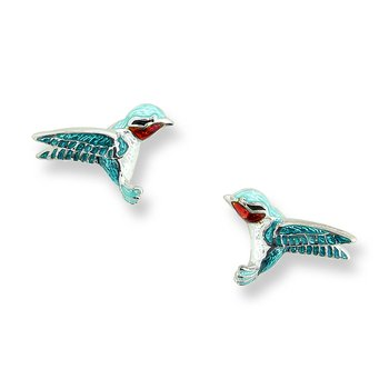Green Hummingbird Stud Earrings.Sterling Silver