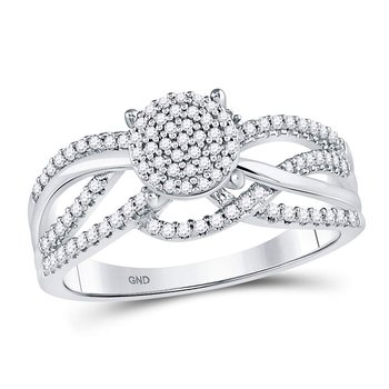 10kt White Gold Womens Round Diamond Woven Strand Cluster Ring 1/3 Cttw
