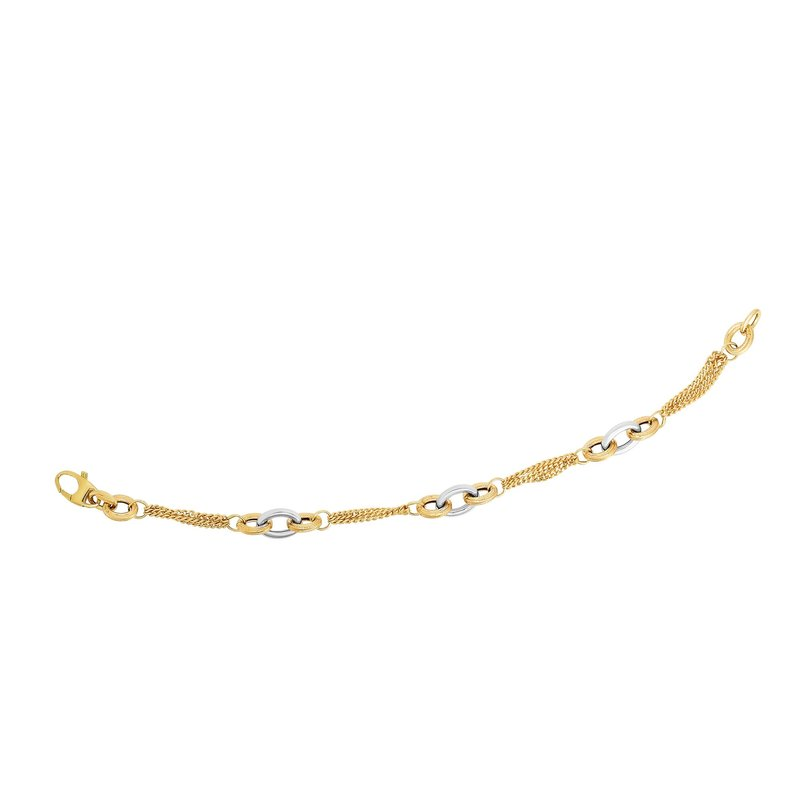 Royal Chain 14K Gold Interlocking Stations Heritage Link