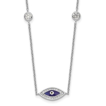 Sterling Silver Rhodium-plated Enameled CZ Evil Eye Necklace