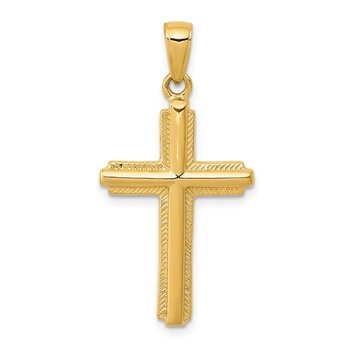 14K Cross with Striped Border Pendant
