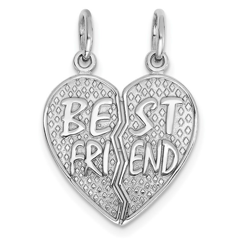 Quality Gold 14k White Gold Polished BEST FRIEND Heart Pendant