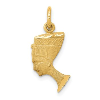 14K Satin Front / Polished Back Nefertiti Charm
