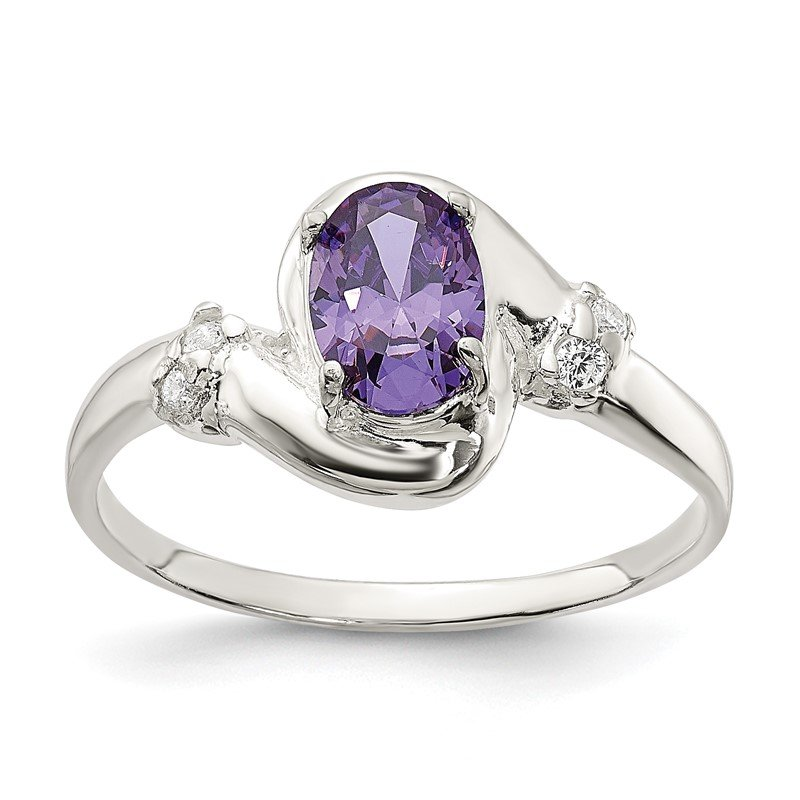 Quality Gold Sterling Silver Purple Oval CZ Ring