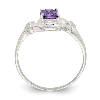 Sterling Silver Purple Oval CZ Ring
