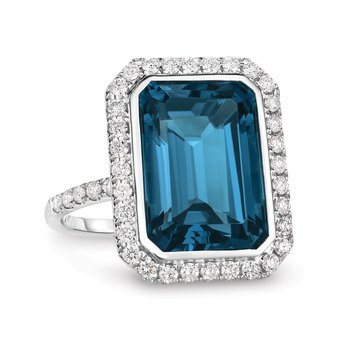 London Blue Diamond Halo Ring 18KW
