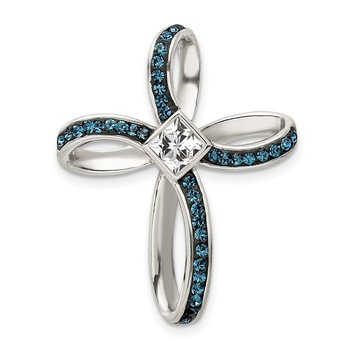 Sterling Silver Blue/White Crystal Cross Slide