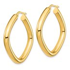 Quality Gold 14K Large 2x4mm Thick Round Tube Square Shape Hoop Earrings