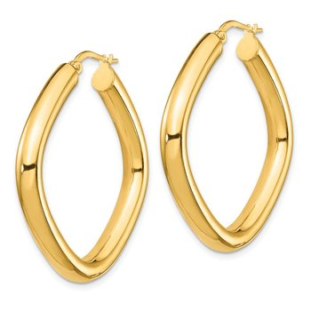 14K Large 2x4mm Thick Round Tube Square Shape Hoop Earrings