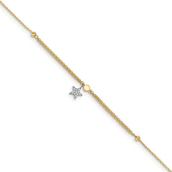 14K Two-tone CZ and Star 10in Plus 1in ext. Anklet