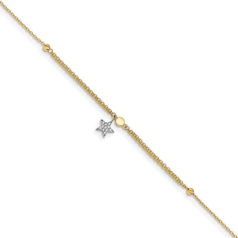 Quality Gold 14K Two-tone CZ and Star 10in Plus 1in ext. Anklet