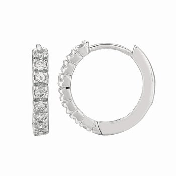 Silver 3x15mm CZ Hoop Earrings