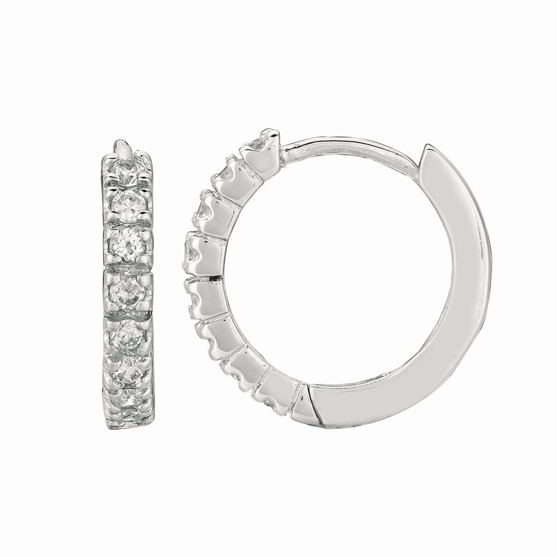 Royal Chain Silver 3x15mm CZ Hoop Earrings