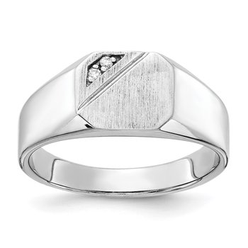 14k White Gold 9.0x10.0mm Open Back Diamond Signet Ring Mounting