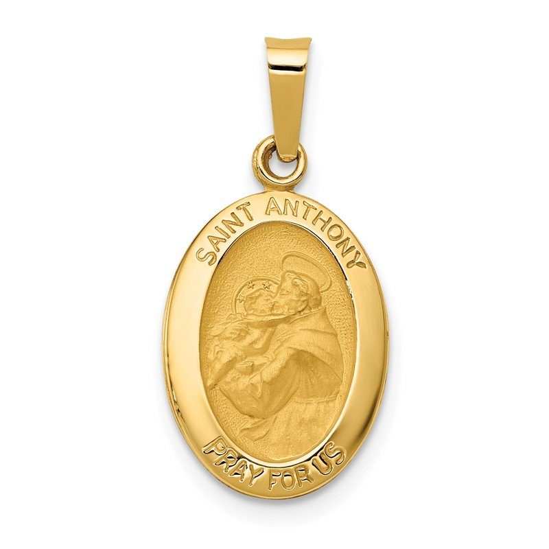 Quality Gold 14k Polished and Satin St. Anthony Medal Hollow Pendant