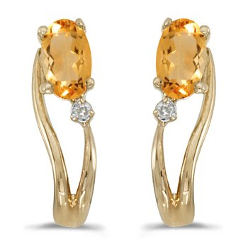 14k Yellow Gold Oval Citrine And Diamond Wave Earrings