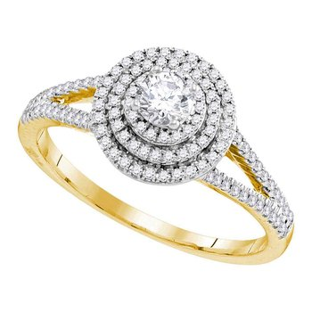 10kt Yellow Gold Womens Round Diamond Solitaire Triple Halo Split-shank Bridal Wedding Engagement Ring 1/2 Cttw