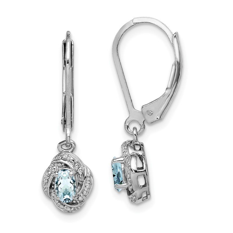 Quality Gold Sterling Silver Rhodium-plated Diam. & Aquamarine Earrings