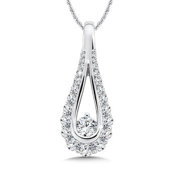 Diamond Open Pear-shape Pendant in 14K White Gold (1/2ct. tw.)