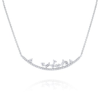 Diamond <b>Mosaic</b> Curve Necklace Set in 14 Kt. Gold