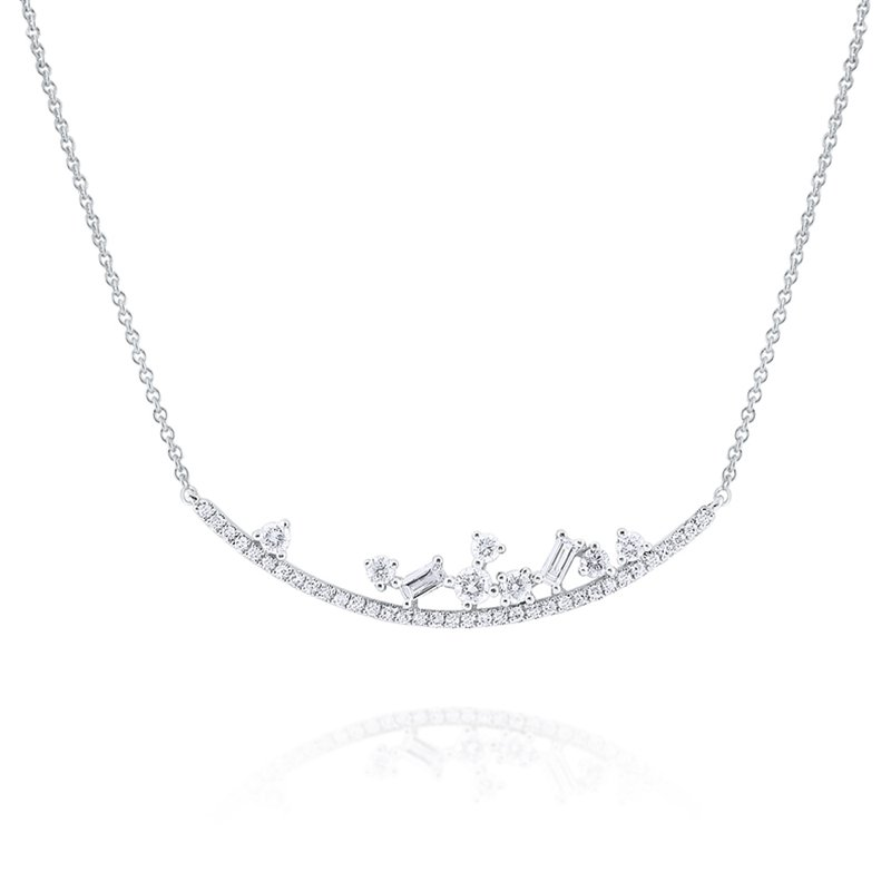 KC Designs Diamond <b>Mosaic</b> Curve Necklace Set in 14 Kt. Gold