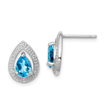 Sterling Silver Rhodium Plated Diamond Blue Topaz Post Earrings