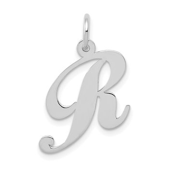 14K White Gold Medium Fancy Script Letter R Initial Charm