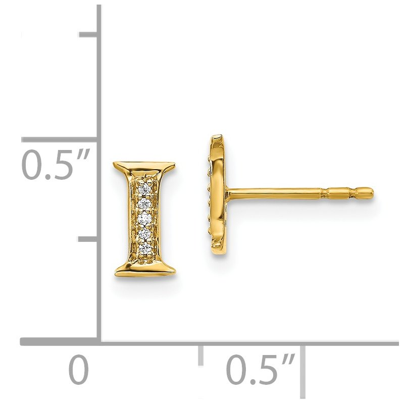 Quality Gold 14k White Gold Diamond Initial I Earrings
