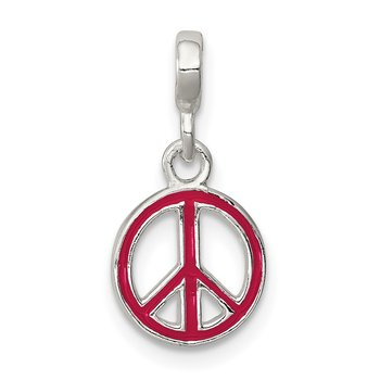 Sterling Silver Red Enameled Peace Sign Enhancer
