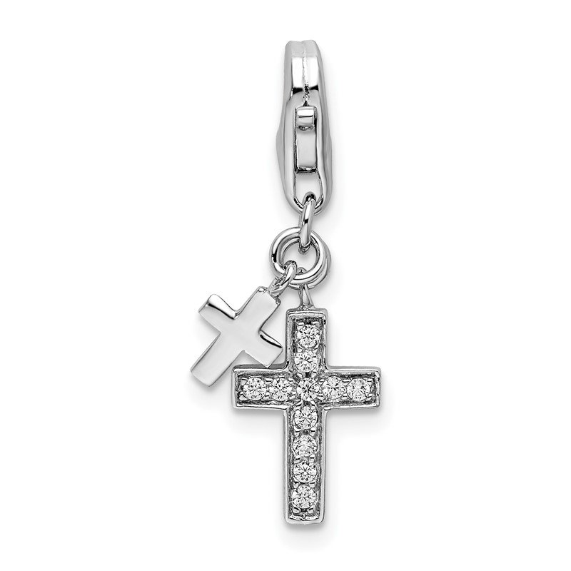 Quality Gold Sterling Silver Amore La Vita Rhodium-plated with CZ Two Cross Charm