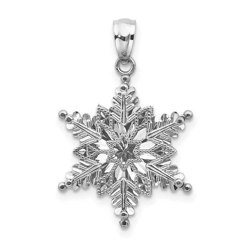 Quality Gold 14k White Gold Polished and Textured 2 Level Snowflake Pendant