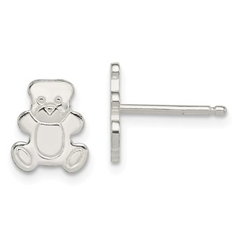 Sterling Silver Polished Teddy Bear Post Earrings