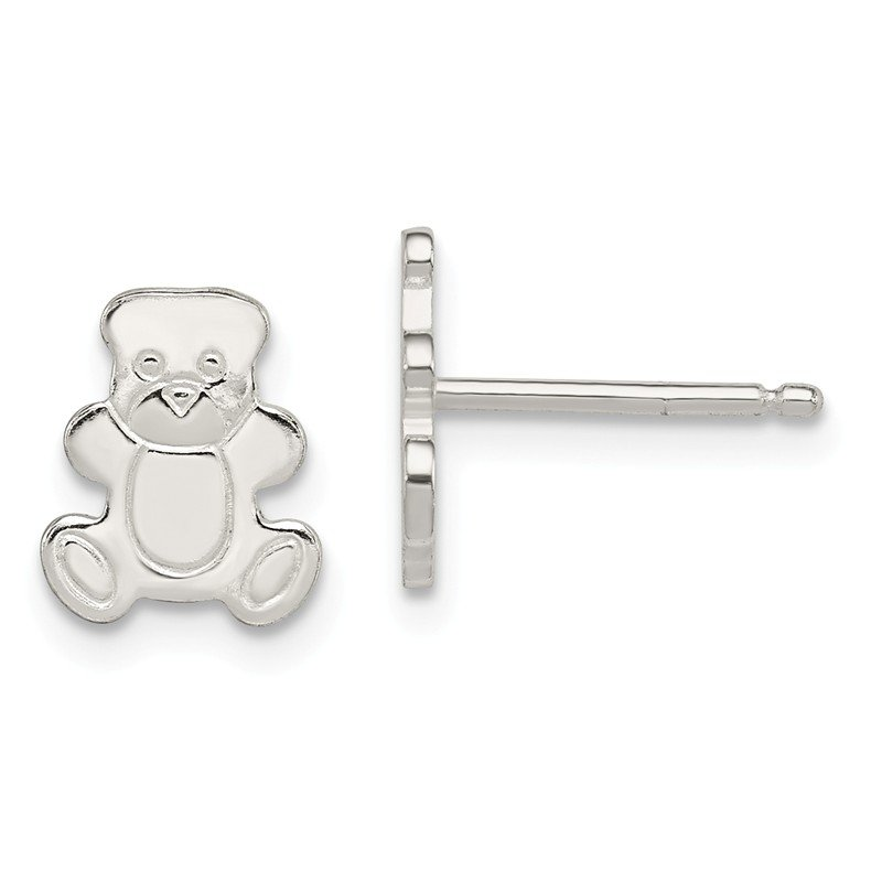 Quality Gold Sterling Silver Polished Teddy Bear Post Earrings
