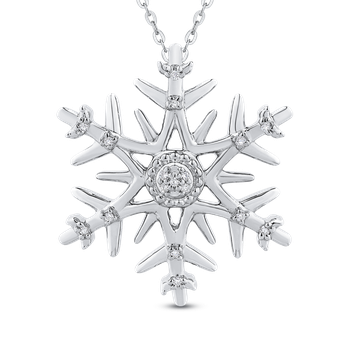 Sterling Silver .05 Ct Diamond Snow Flake Pendant with Chain