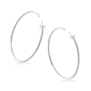 Diamond Inside Outside Hoop Earrings in 14k White Gold with 342 Diamonds weighing 1.80ct tw.