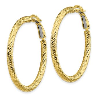 10k 3x30 Diamond-cut Round Omega Back Hoop Earrings