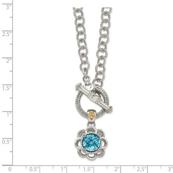 Sterling Silver w/ 14K Accent Light Swiss Blue Topaz & Diamond Toggle Neckl