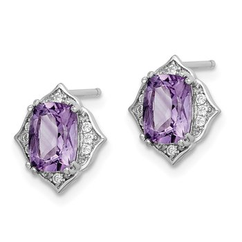 Sterling Silver Rhod-plated Amethyst and White CZ Post Dangle Earrings