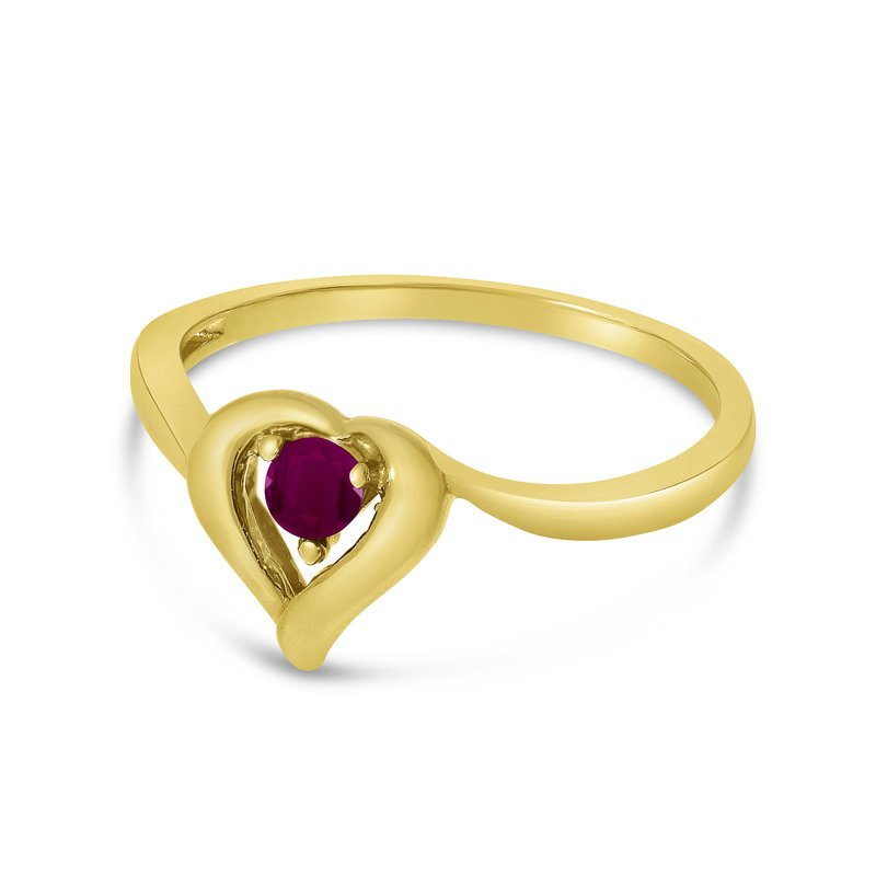 Color Merchants 14k Yellow Gold Round Ruby Heart Ring