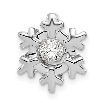 Sterling Silver Polished Vibrant CZ Snowflake Pendant