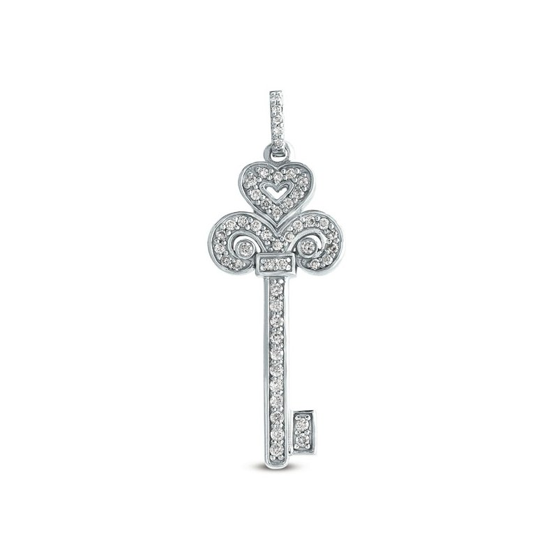S. Kashi  & Sons White Gold Key Charm 37mm