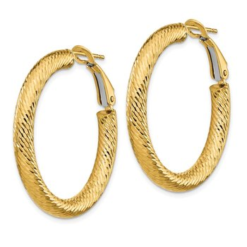 14k 4x25mm Diamond-cut Round Omega Back Hoop Earrings