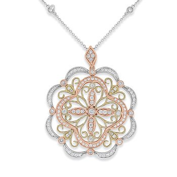 Champagne And White Diamond Fashion Necklace in 14k White, Yellow and Rose Gold with 129 Diamonds weighing .93ct tw.