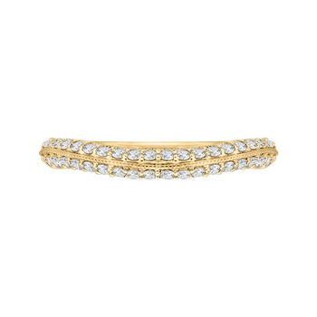 Round Diamond Half-Eternity Wedding Band In 18K Yellow Gold