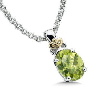 Sterling Silver, 18K Gold and Peridot Pendant