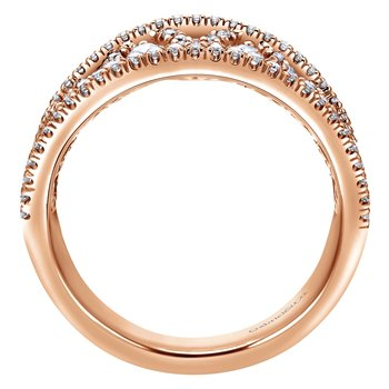 14K Rose Gold Intricate Openwork Diamond Wide Band Ring