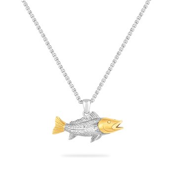 STERLING SILVER & 14KY  CARP FISH PENDANT ON AN 18 INCH SILVER  CHAIN